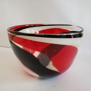 Very nice Swirl red white black Hand blown bowl